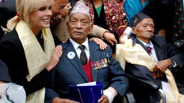 Joanna Lumley and Gurkha veterans