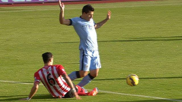 Jose Fonte tackles Sergio Aguero