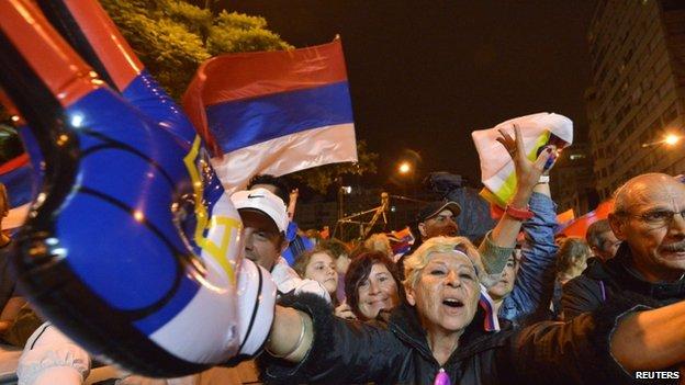 Tabare Vazquez's supporters celebrate in Montevideo. Photo: 30 November 2014