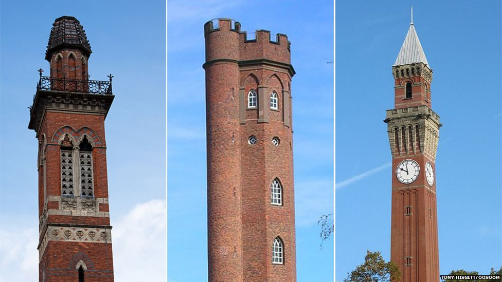 Edgbaston Waterworks, Perrott's Folly and the Birmingham University clocktower