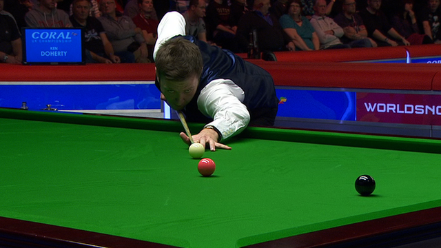 Ricky Walden lines up at pot on the pink at the UK Snooker Championship in York