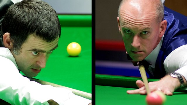 Ronnie O'Sullivan and Peter Ebdon at the 2014 UK Championship