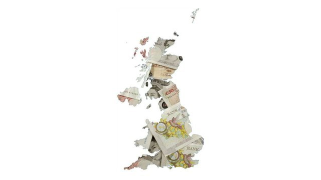 UK map composed of bank notes