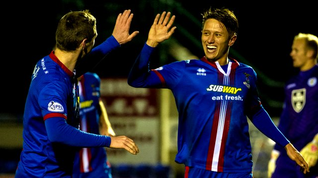 Danny Williams celebrates his goal with Billy McKay
