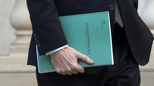 George Osborne, holding a copy of the Autumn Statement as hea leaves Treasury in London