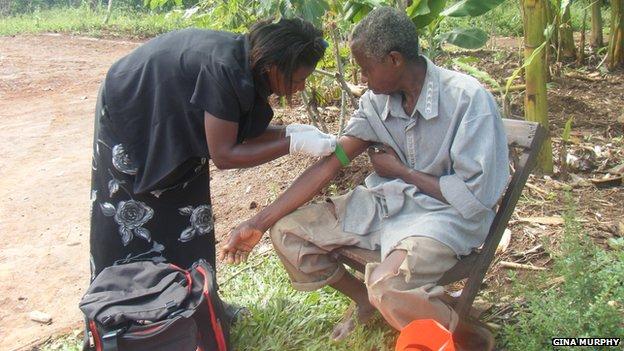 Blood sample being taken in Africa