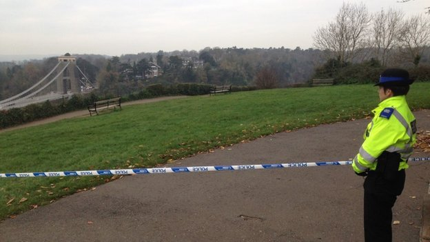 Police cordon at Clifton Observatory