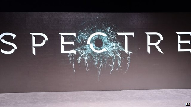 Screen showing film title 'Spectre'
