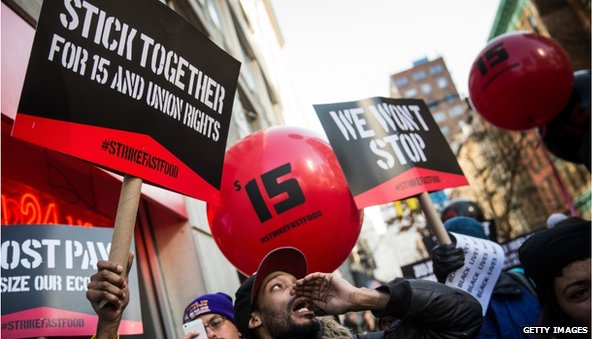 Fast food workers striking in New York City