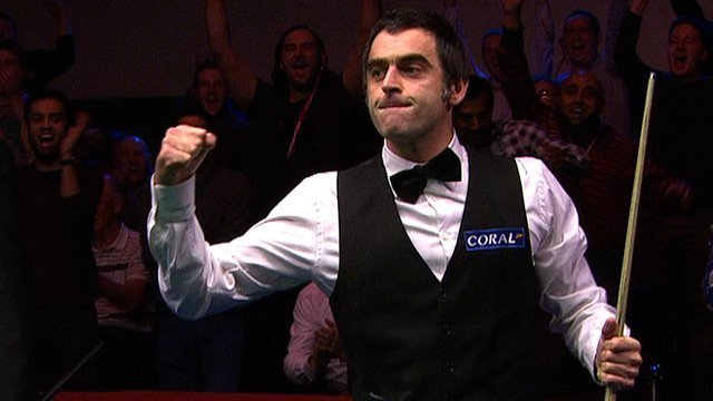 Ronnie O'Sullivan celebrates 147 break