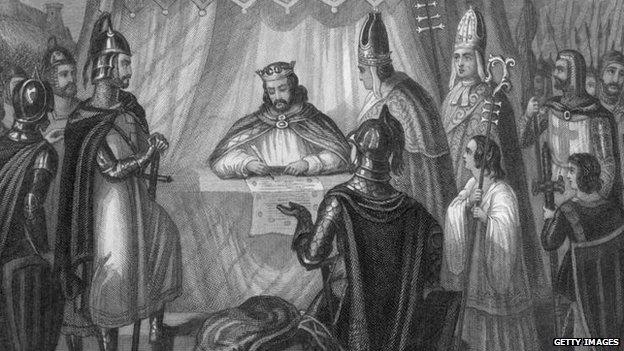 King John signs the Magna Carta at Runnymede near Windsor, in 1215