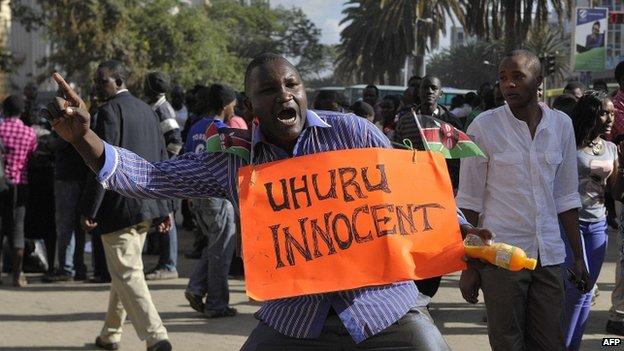 Supporters of President Kenyatta celebrate in Nairobi. Photo: 5 December 2014