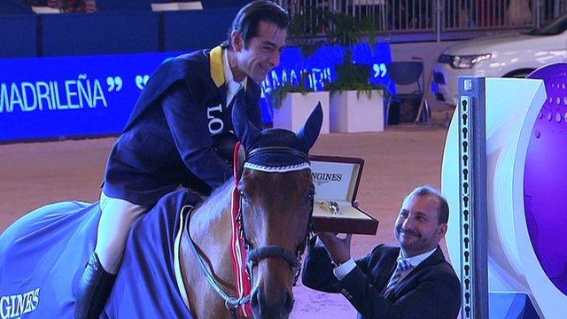 Colombia's Carlos Lopez riding Prince de la Mare