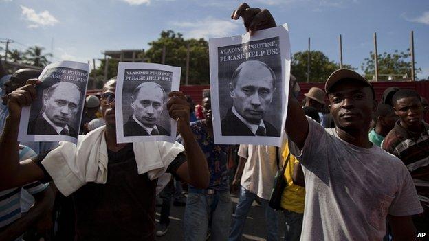Haiti protesters call on President Putin for help. 5 Dec 2014