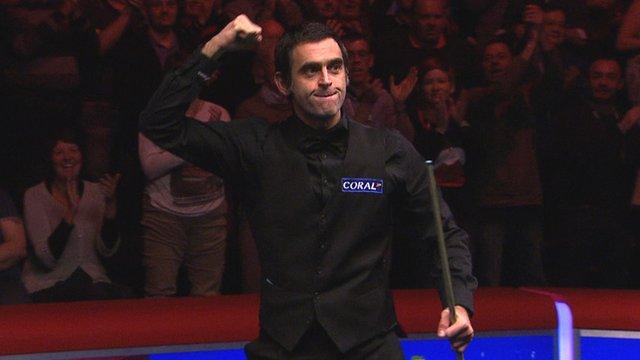 Ronnie O'Sullivan celebrates winning his semi-final