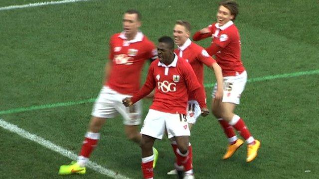 Bristol City celebrate Kieran Agard's stoppage-time goal