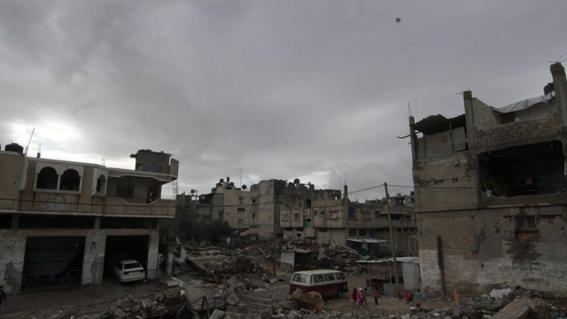 Gaza skyline of half-destroyed buildings