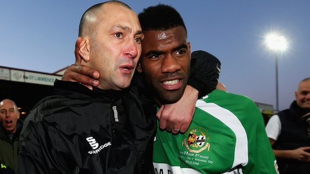 Worcester City manager Carl Heeley and Sunday's scorer at Scunthorpe, Daniel Nti
