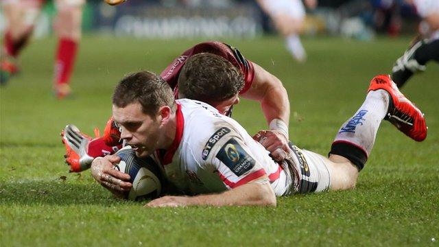 Darren Cave goes over for Ulster's opening try in Saturday's victory over the Scarlets