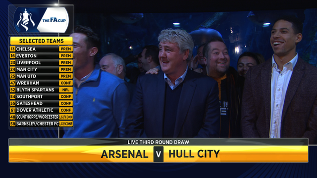 Steve Bruce and Curtis Davies react to Hull's FA Cup draw