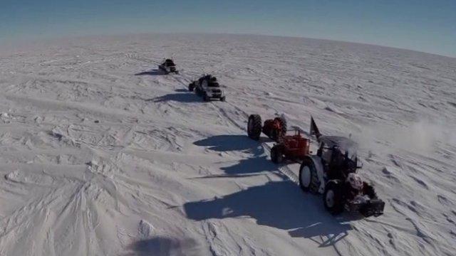 Tractor driving across Antarctica