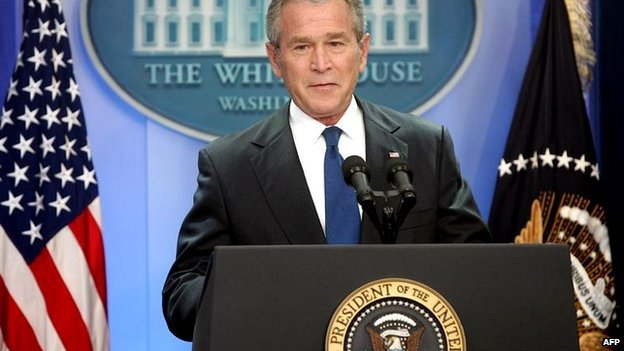 US President George W Bush at a press conference in the White House - 17 October 2007