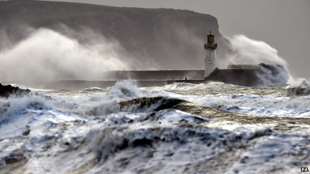 Waves at Whitehaven in Cumbria