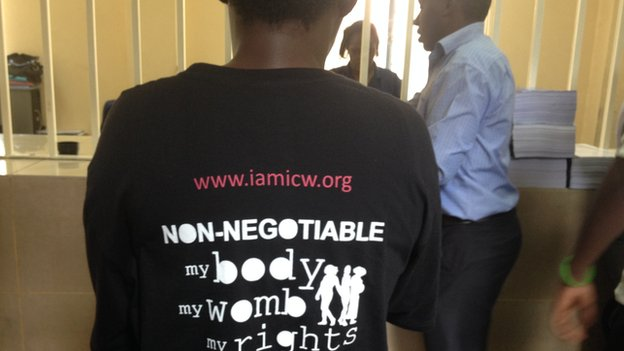 A woman with a T-shirt in Kenya on 10 December 2014