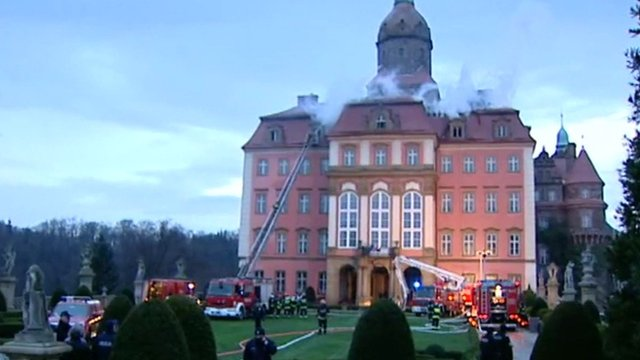 Firefighters tackle the blaze at Ksiaz Castle in Lower Silesia, Poland