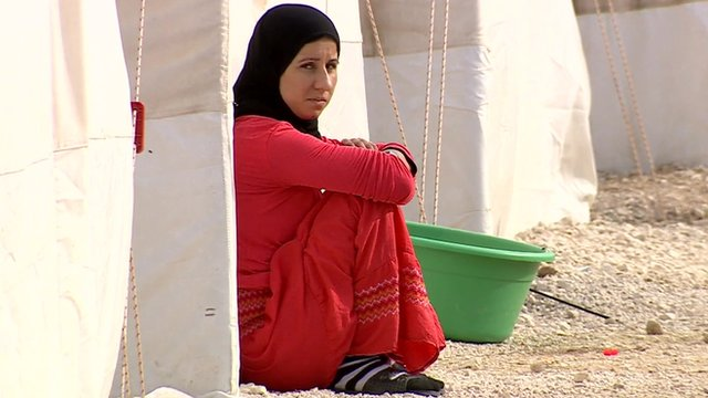A Yazidi woman living in a refugee camp