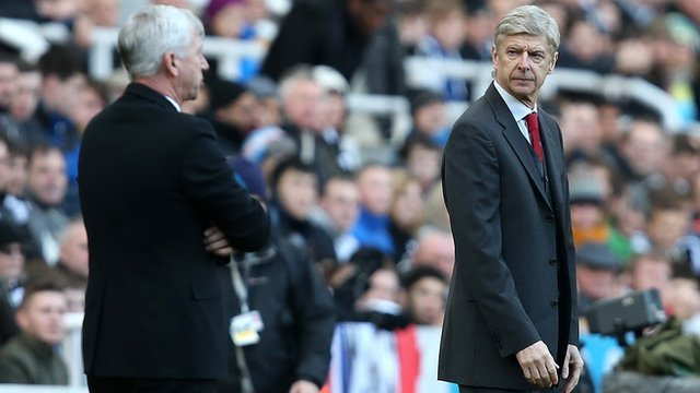 Newcastle manager Alan Pardew and Arsenal manager Arsene Wenger