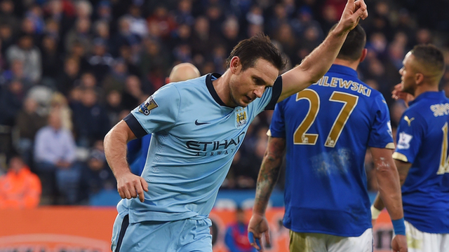 Frank Lampard celebrates after scoring for Manchester City against Leicester