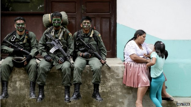 Members of the Bolivian combined forces of army and police at their headquarters n Chimore, east La Paz, 2014