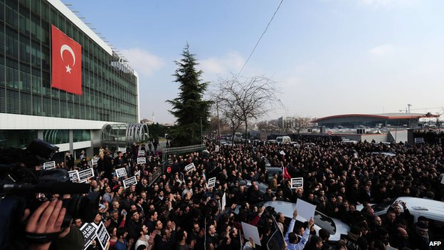 A huge crowd gathered outside the offices of Zaman on the outskirts of Istanbul.