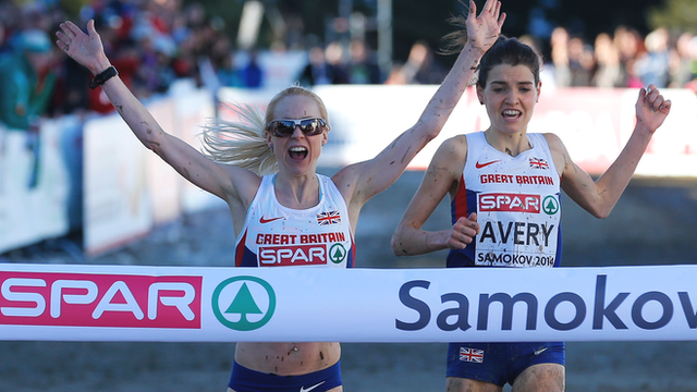 Britain's Gemma Steel beats team-mate Kate Avery at the European Cross Country Championships