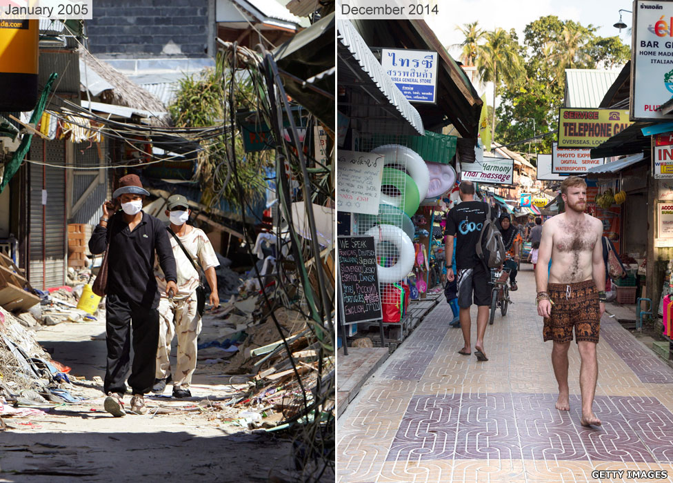 Ko Phi Phi Island in Thailand in 2005 and 2014