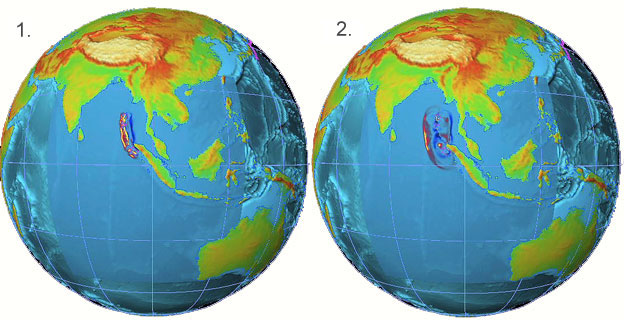 Sequence of graphics showing the spread of the 2004 Asian tsunami