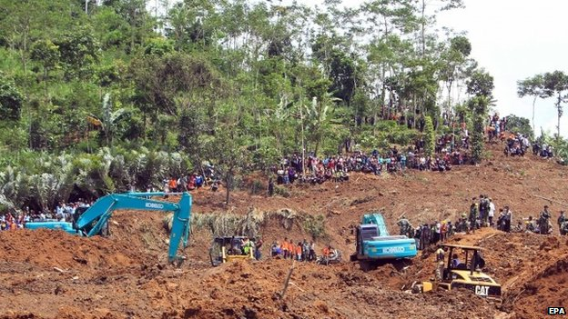 The scene of a deadly landslide in Indonesia