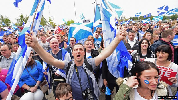 Crowd with Scottish flags