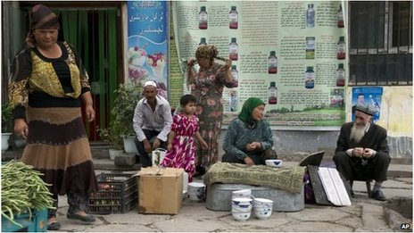 Ethnic Uighurs in Aksu, Xinjiang, China (file image)