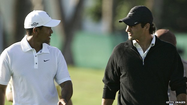 Roger Federer joins Tiger Woods during a practice round at the CA Championship