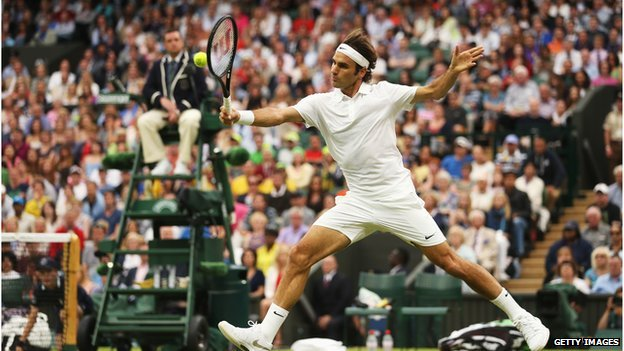 Roger Federer plays on Centre Court at Wimbledon