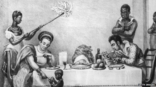 A Brazilian family at dinner on a coffee plantation, circa 1820. From 'Voyage Pittoresque et Historique au Bresil' by Jean-Baptiste Debret