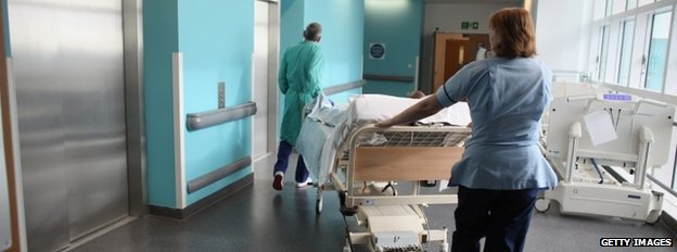 Nurse and porter in hospital in Birmingham