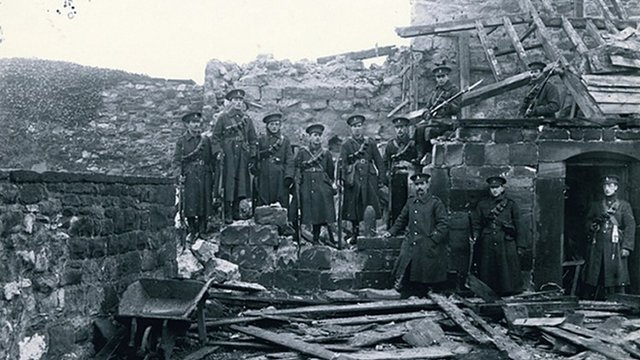 5th Battalion Green Howards on duty at the castle in Scarborough after the 1914 German bombardment