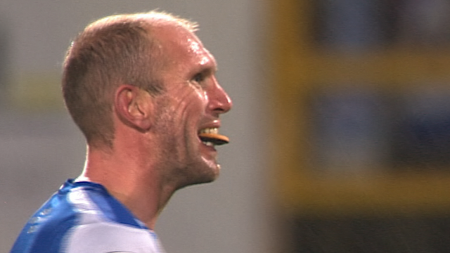 Chester's Gareth Roberts enjoys a biscuit during his side's defeat to Barnsley