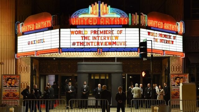 Security is seen outside The Theatre at Ace Hotel before the premiere of the film The Interview in Los Angeles