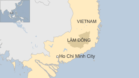 Map of Lam Dong province in Vietnam
