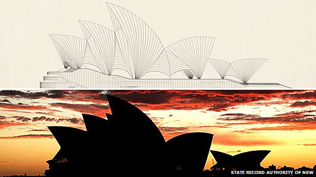 Plans and the built Sydney Opera House
