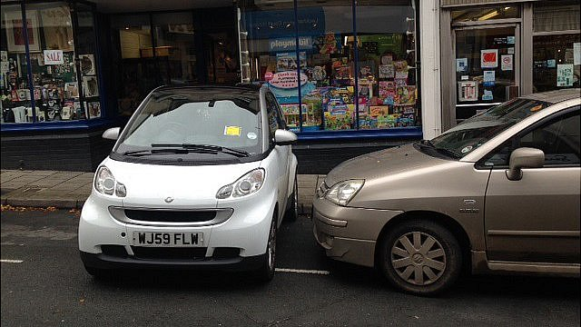 Smart car parked in Stroud, Gloucestershire